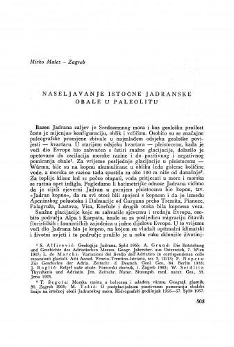 Naseljavanje istočne jadranske obale u paleolitu / M. Malez