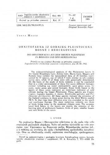 Ornitofauna iz gornjeg pleistocena Bosne i Hercegovine