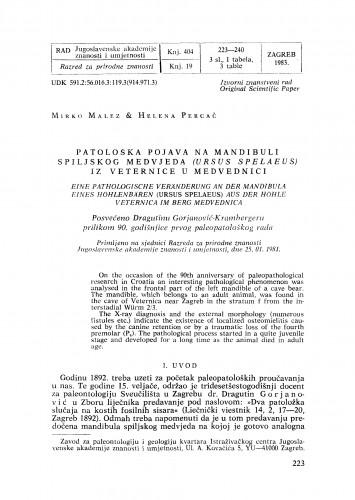 Patolološka pojava na mandibuli spiljskog medvjeda (Ursus spelaeus) iz Veternice u Medvednici
