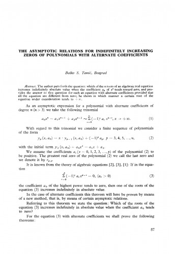 The asymptotic relations for indefinitely increasing zeros of polynomials with alternative coefficients