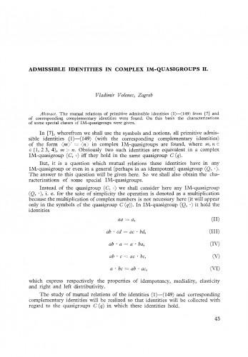 Admissible identities in complex IM-quasigroups II