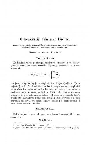 O konstituciji fulminske kiseline