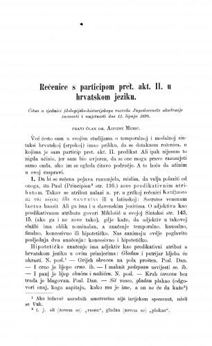 Rečenice s participom pret. akt. II. u hrvatskom jeziku