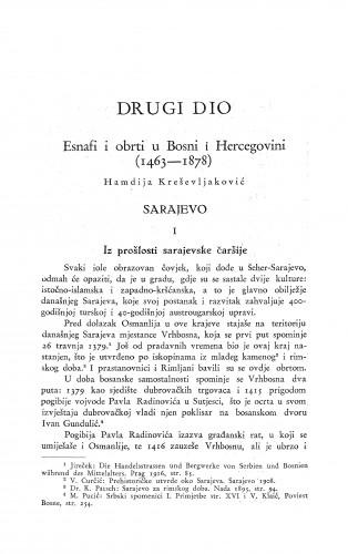 Esnafi i obrti u Bosni i Hercegovini (1463-1878) : Sarajevo / H. Kreševljaković
