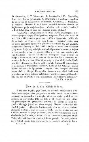 Novija djela Miklošićeva : [književna obznana] : RAD