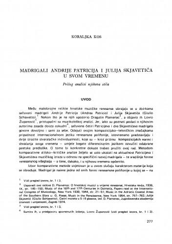 Madrigali Andrije Patricija i Julija Skjavetića u svom vremenu