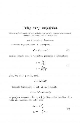 Prilog teoriji čunjosječica
