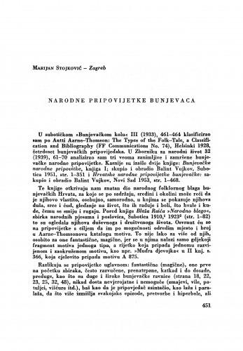 Narodne pripovijetke Bunjevaca / M. Stojković