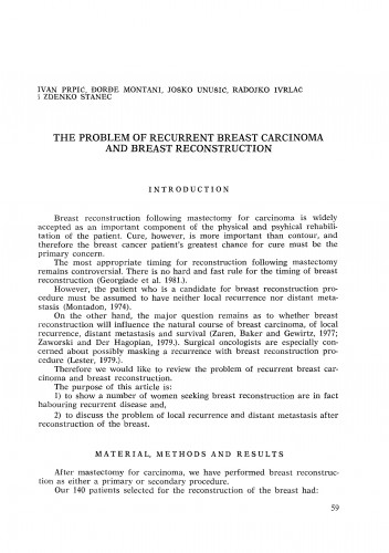 The problem of recurrent breast carcinoma and breast reconstruction