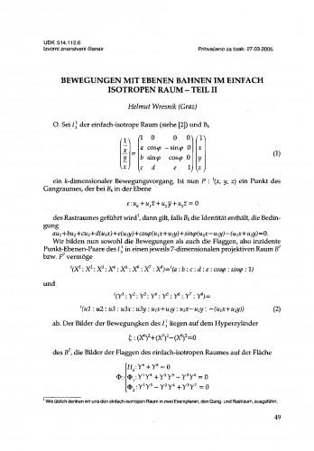 Bewegungen mit ebenem Bahnen im einfach isotropen Raum - teil II