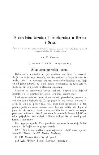 O narodnim imenima i prezimenima u Hrvata i Srba