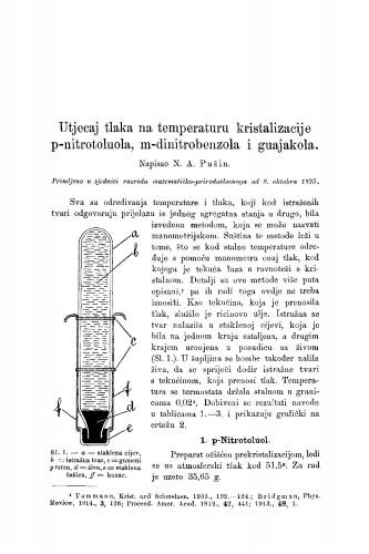 Utjecaj tlaka na temperaturu kristalizacije p-nitrotoulola, m-dinitrobenzola i guajakola