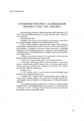 O sudskom procesu u zagrebačkkom Gradecu u XIII. i XIV. stoljeću