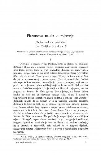 Platonova nauka o mjerenju