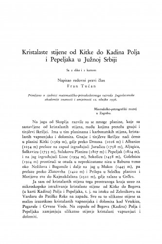 Kristalaste stijene od Kitke do Kadina Polja i Pepeljaka u Južnoj Srbiji