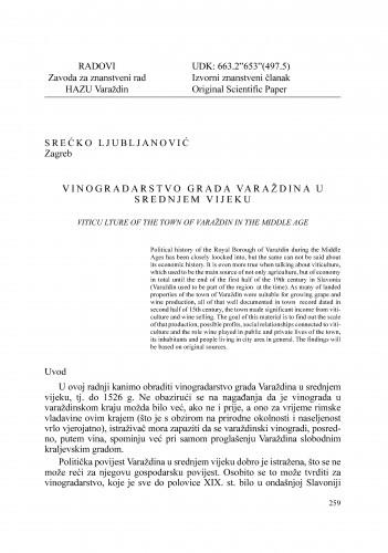Vinogradarstvo grada Varaždina u srednjem vijeku : Radovi Zavoda za znanstveni rad Varaždin