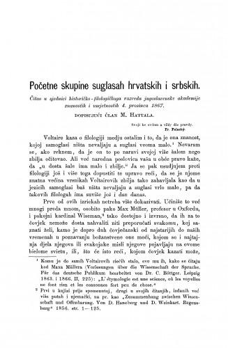 Početne skupine suglasah hrvatskih i srbskih : RAD