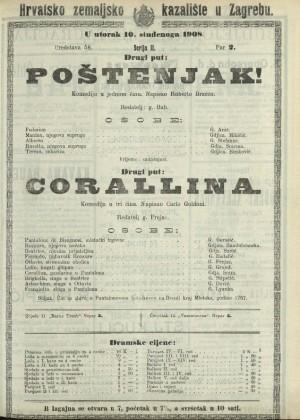 Poštenjak! ; Corallina Komedija u jednom činu ; Komedija u tri čina