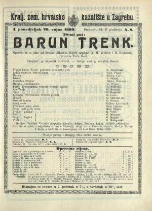 Barun Trenk Opereta u 3 čina / od Albinia