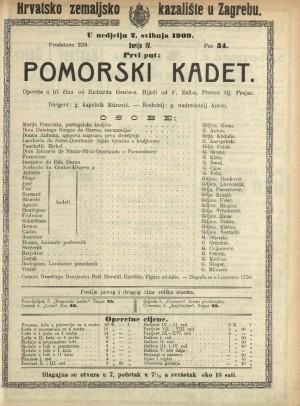 Pomorski kadet Opereta u 3 čina / od Richarda Genéea