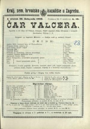 Čar valcera Opereta u 3 čina / od Oskara Strausa