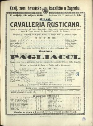 Cavalleria rusticana ; Pagliacci Opera u jednom činu ; Opera u dva čina s prologom / Prema istoimenoj noveli Giovannia Verge