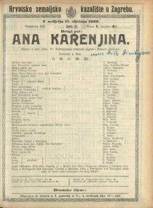 Ana Karenjina Drama u 6 slika / prema istoimenom romanu Leva Nikolajeviča Tolstoja