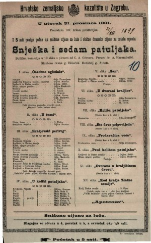 Snješka i sedam patuljaka božićna komedija u 12 slika s plesom / od C. A. Görnera