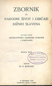 Knj. 26. (1928) : Zbornik za narodni život i običaje