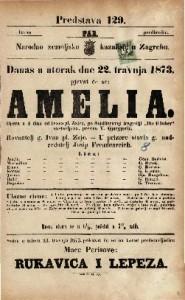 """Amelia : Opera u 4 čina / od Ivana pl. Zajca, po Schillerovoj trageiji """"Die RÄuber"""" sastavljena"""