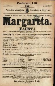 Margareta (Faust) Opera u 5 činah / Napisao polag Goethe-a Julio Barbier i M. Carić ; Glasba od T. Gounoda