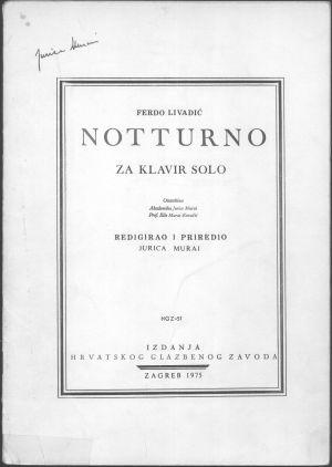 Notturno : za klavir solo : Ostavština Jurica Murai