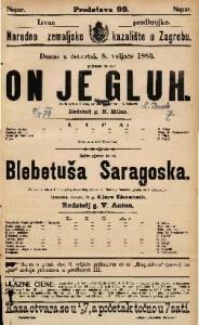 Blebetuša Saragoska : Šaljiva opereta u 2 čina / glasba od J. Offenbacha