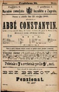 Abbé Constantin : Igrokaz u 3 čina / napisali K. Halevy, N. Cremieux i P. Decourcelle
