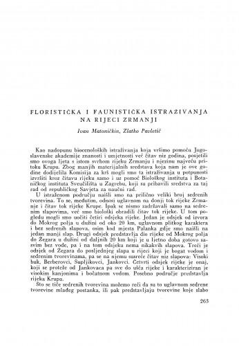Floristička i faunistička istraživanja na rijeci Zrmanji / I. Matoničkin i Z. Pavletić