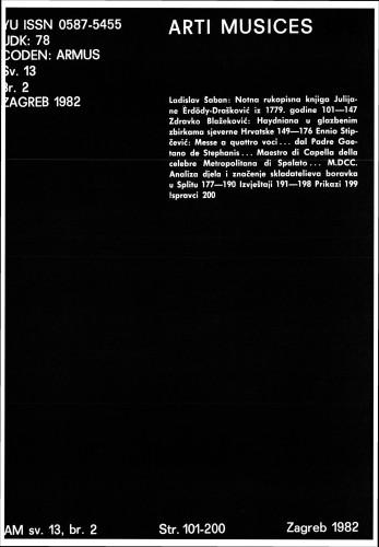 God. 13(1982), br. 2 : Arti musices
