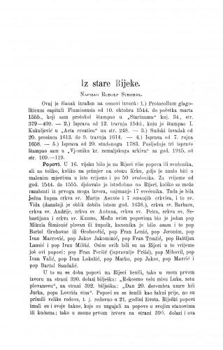Iz stare Rijeke / R. Strohal