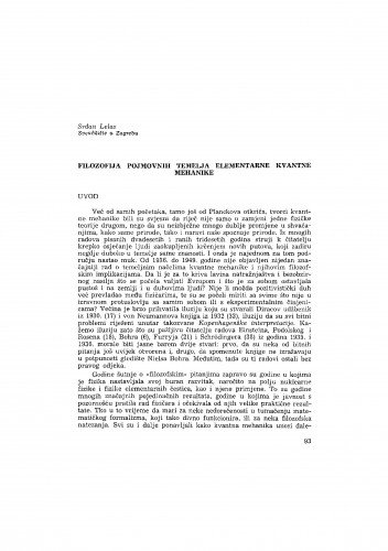 Filozofija pojmovnih temelja elementarne kvantne mehanike