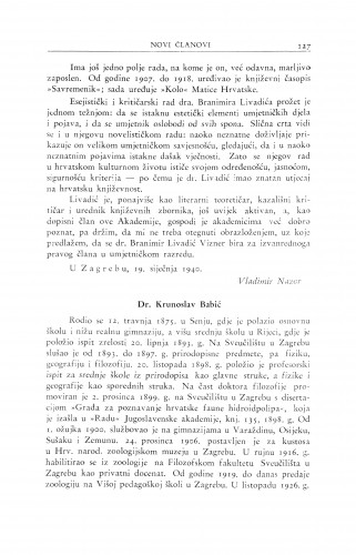 Dr. Krunoslav Babić : Ljetopis