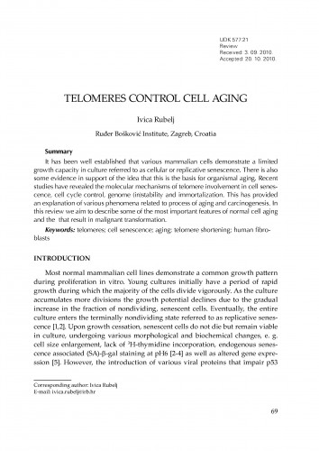 Telomeres control cell aging