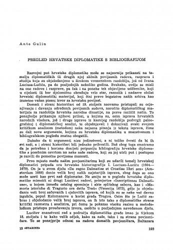 Pregled hrvatske diplomatike s bibliografijom / Ante Gulin