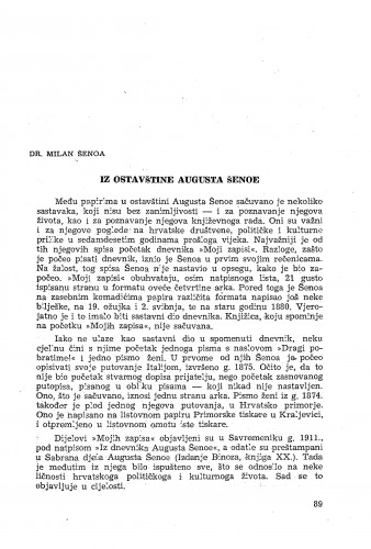 Iz ostavštine Augusta Šenoe / [priredio] Milan Šenoa