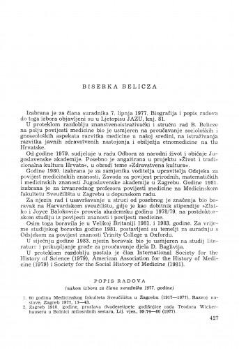 Biserka Belicza : [biografije novih članova Akademije]