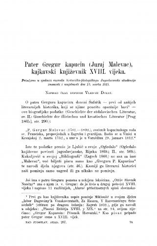 Petar Gregur kapucin (Juraj Malevac), kajkavski književnik XVIII. vijeka