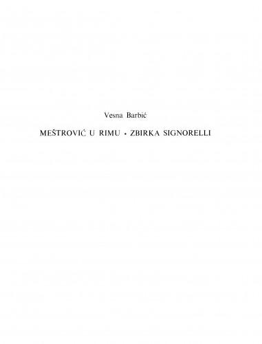 Meštrović u Rimu. Zbirka Signorelli