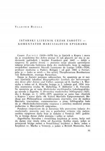Istarski liječnik Cezar Zarotti - komentator Marcijalovih epigrama
