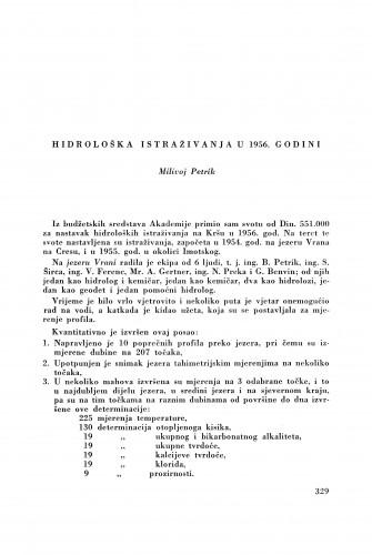 Hidrološka istraživanja u 1956. godini / M. Petrik