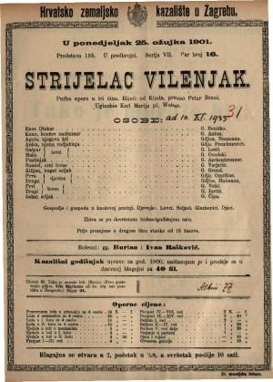 Strijelac vilenjak pučka opera u tri čina / uglazbio Karl Marija pl. Weber