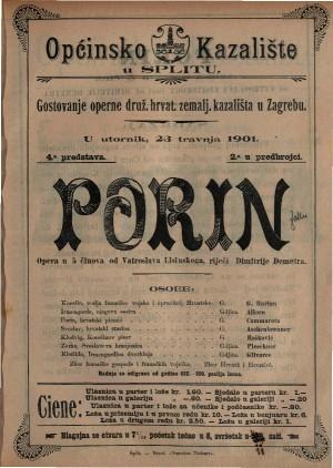 Porin opera u 5 činova / od Vatroslava Lisinskog