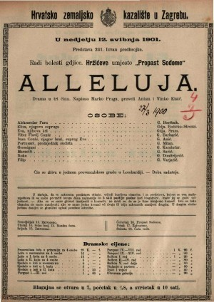 Alleluja : draa u tri čina / napisao Marko Praga